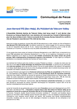 ON MONDAY, APRIL 15TH, 2013 - PRESS RELEASE OF TELECOM VALLEY